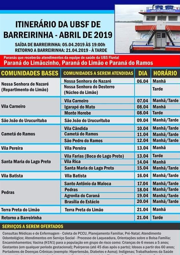UBS de Barreirinha realiza atendimento na Zona Rural. Cerca de 23 comunidades serão beneficiadas.