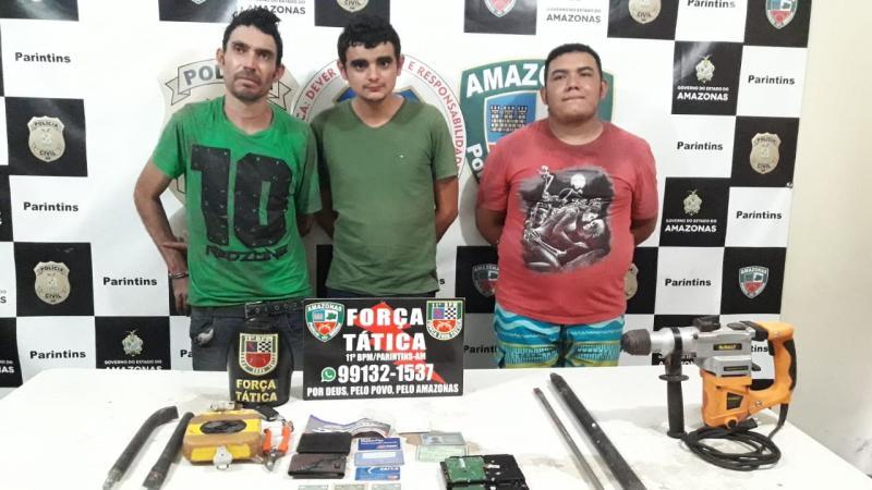Força Tática apresenta suspeitos de envolvimento no arrombamento da agência do Basa