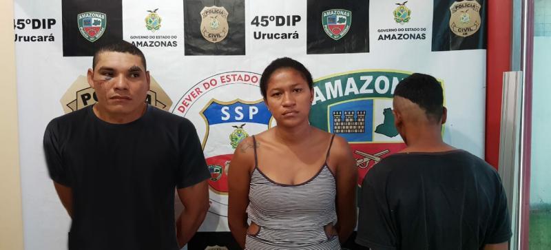 Polícias Civil e Militar prendem com drogas dupla procurada por homicídio, tentativa de homicídio e roubo em Urucará