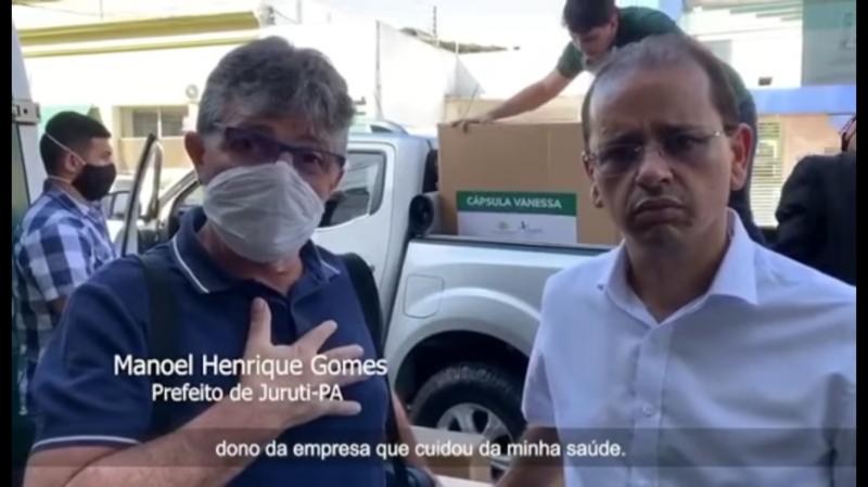 Prefeito de Juruti recebe alta após tratamento contra Covid-19 e Samel faz doação de cápsulas