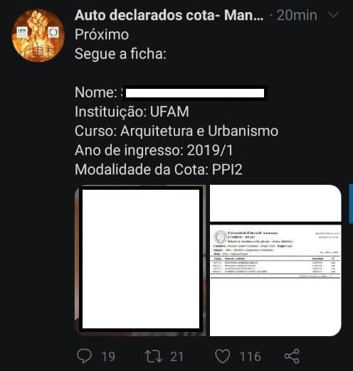 Perfil denuncia fraude em cotas raciais de Universidades do Amazonas