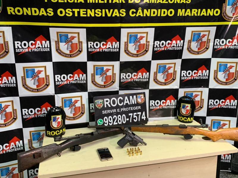 Rocam prende 'Soldado da FDN' com pistola e fuzis na Compensa