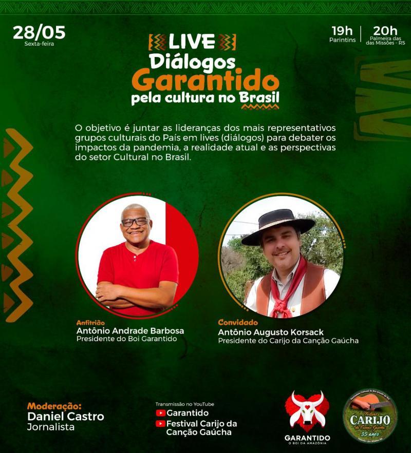 """Presidente do Festival Carijo da Canção Gaúcha, Antonio Augusto Korsack Filho, participa da série de lives """"Diálogos - Garantido Pela Cultura do Brasil"""", dia 28 de maio"""