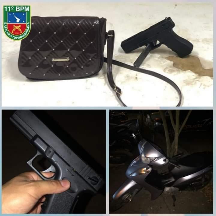 Policiais Militares do 11° BPM recuperam moto roubada e apreendem 3 menores por roubo e posse de simulacro de arma de fogo em Parintins